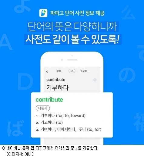 네이버 통역 앱 파파고, 어학사전 정보 제공