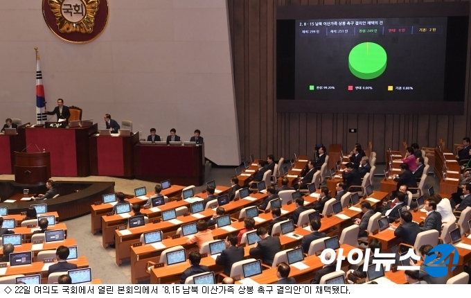 국회, ''8.15 이산가족상봉 결의안'' 채택