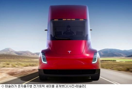 테슬라, 준자율전기차 ''세미 트럭'' 공개