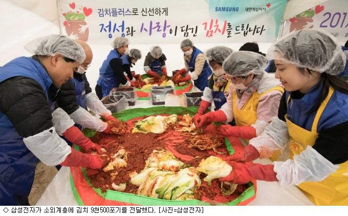 삼성전자, 소외계층에 김치 9천500포기 전달