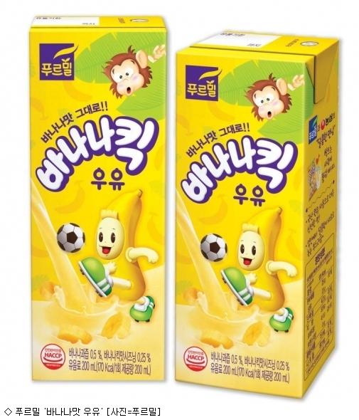 장수 과자 '농심 바나나킥' 우유로 등장