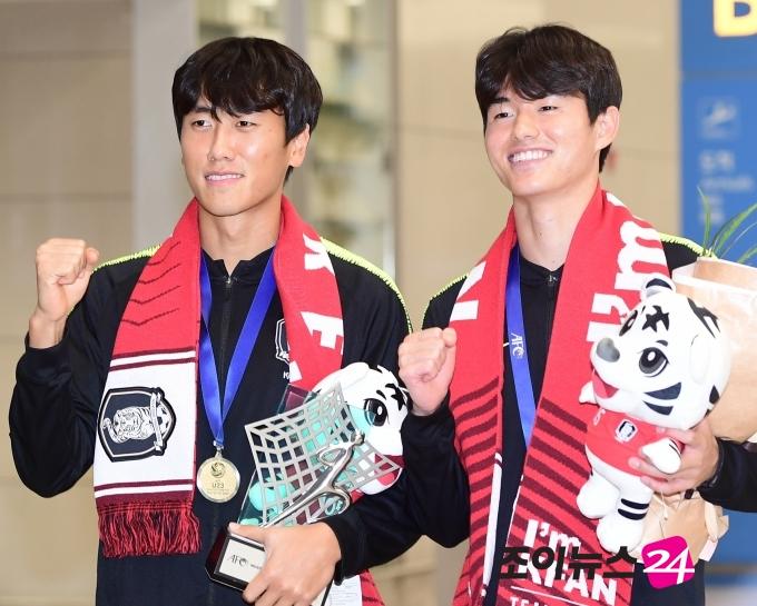 [포토]원두재-이상민, '올림픽 자신감 미소'
